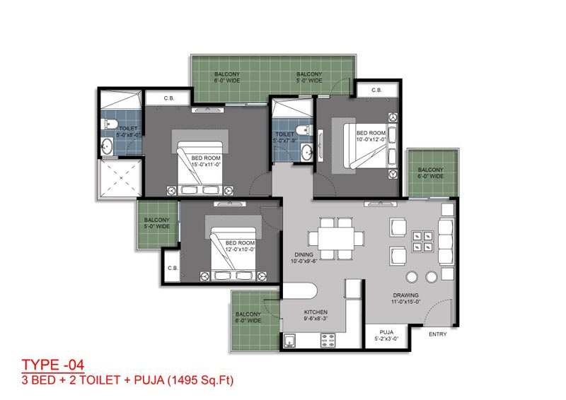 3 BHK Flats & Apartments for Sale in Greater Noida West, Greater Noida - 1495 Sq. Feet