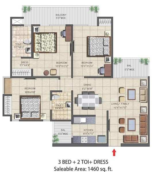 3 BHK Flats & Apartments for Sale in Sector 16, Greater Noida - 1460 Sq. Feet