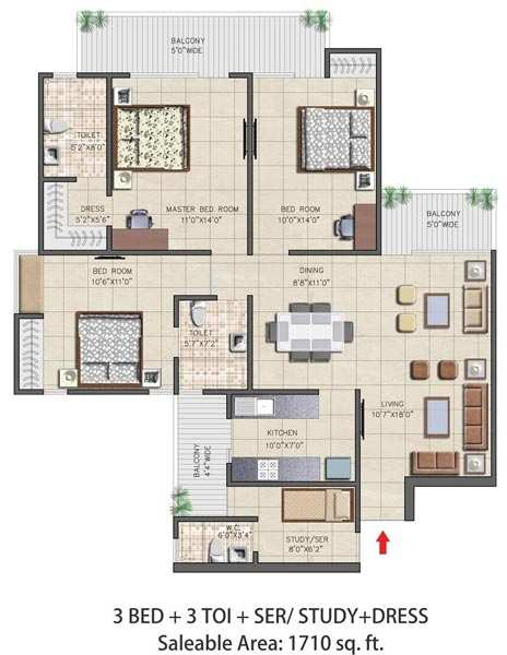 3 BHK Flats & Apartments for Sale in Sector 16, Greater Noida - 1710 Sq. Feet