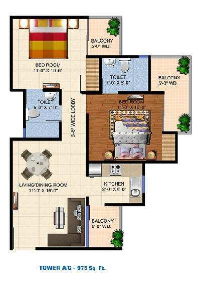 2 BHK Flats & Apartments for Sale in Yamuna Expressway, Greater Noida - 975 Sq. Feet