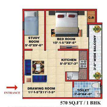 1 BHK 570 Sq.ft. Residential Apartment for Sale in NH 91, Ghaziabad
