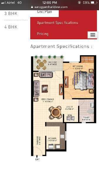 1 BHK 850 Sq.ft. Residential Apartment for Sale in Patanjali, Haridwar