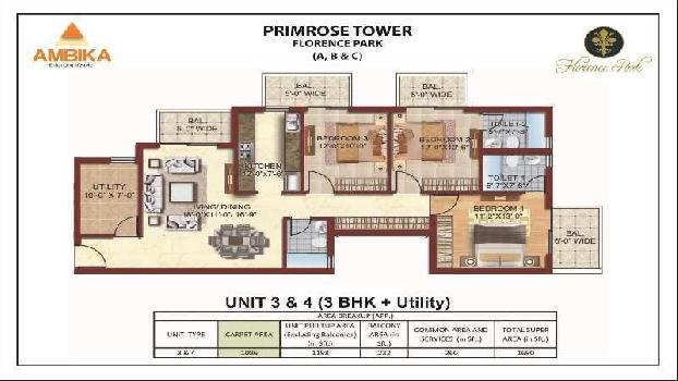 3 BHK 1690 Sq.ft. Residential Apartment for Sale in New Chandigarh,