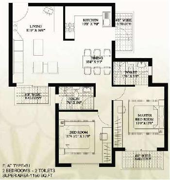 2 BHK 1200 Sq.ft. Residential Apartment for Sale in Sector 78 Faridabad