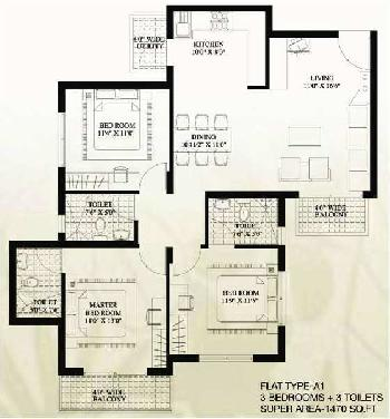 3 BHK 1500 Sq.ft. Residential Apartment for Sale in Sector 78 Faridabad