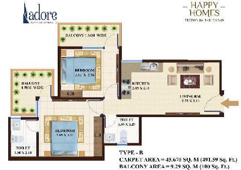 2 BHK 491 Sq.ft. Residential Apartment for Sale in Sector 86 Faridabad
