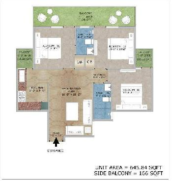3 BHK 645 Sq.ft. Residential Apartment for Sale in Sector 86 Faridabad