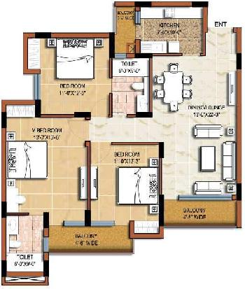 3 BHK 1440 Sq.ft. Residential Apartment for Sale in Sector 93b Noida