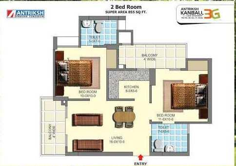 2 BHK 855 Sq.ft. Residential Apartment for Sale in Sector 77 Noida