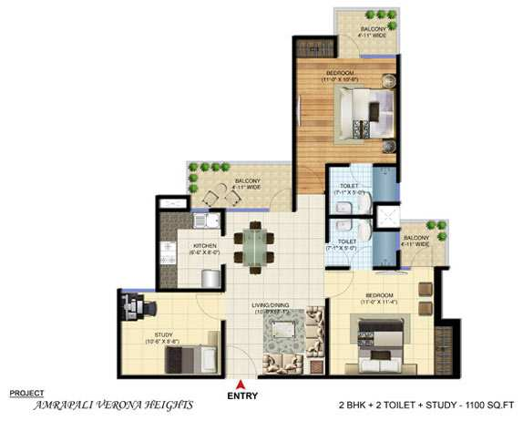 2 BHK Flats & Apartments for Sale in Greater Noida West, Greater Noida - 1100 Sq.ft.